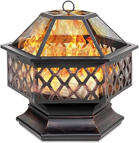 GT-LYD Fire Pit Hexagonal steel Wood Burning w/Flame-Retardant Mesh Lid Fireplace Patio Backyard Steel Firepit Bowl Heater
