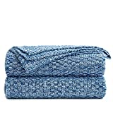 Longhui bedding Blue Knitted Throw Blanket for Couch, Soft, Cozy Machine Washable 100% Cotton Sofa Knit Blankets, 60 x 80 Inches Oversized, Blue and White Color, Laundry Bag Included