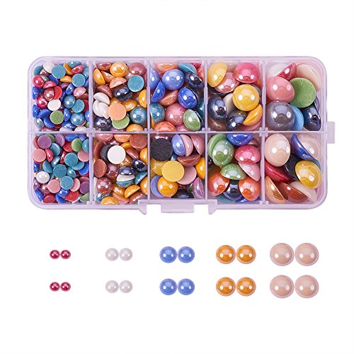 PH PandaHall 1 Box (About 360pcs) Mixed Half Round/Dome Pearlized Glass Cabochons for Jewelry Making, 6-14x3-5.5mm Montana