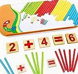 kentop Montessori Maths Jouet en bois Chiffres apprendre avec boîte métallique de calcul Bâtonnets pädago gisches Jouet éducatif pour enfants à partir de 3ans
