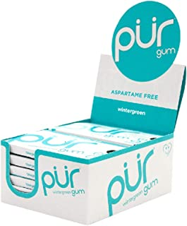 PUR 100% Xylitol Chewing Gum, Wintergreen, Sugar-Free + Aspartame Free, Vegan + non GMO, 9 Count (Pack of 12)