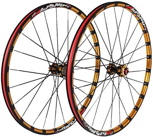 26 27,5 Pulgadas Rueda Bici Bicicleta Frente Hub Pared Rueda de Bicicleta MTB de Ruedas de fresado trilateral Doble Llantas de Aluminio de Carbono QR Disco de Freno y Posterior 7-11 Velocidad 24H