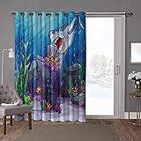 YUAZHOQI cortinas aisladas de reducción de ruido, océano, pececillo de tiburón malvado, 100 x 108 pulgadas de ancho persianas verticales para puerta de honda (1 panel)
