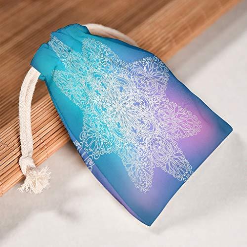 O2ECH-8 12-delig pak droomtemandala trekkoord doek doek stof - proof zakjes gebruiken voor Nieuwjaar verjaardag cadeau wrap bags - Indiase stijl patroon print 12 * 18cm wit