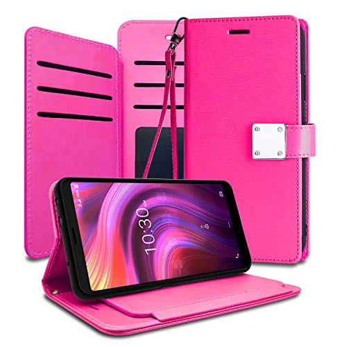 EnCASEs 2 in 1 Wallet Case with Hand Strap for Alcatel 3V 2019, PU Leather Clip Flip Phone Case Cover with ID Card, Credit Card Pocket Holder (Removable Stand Feature), Hot Pink