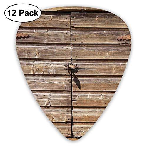 Gitaar Picks12pcs Plectrum (0.46mm-0.96mm), Oude houten verouderde schuur deur met hangslot Verlaten Vintage Boerderij Landelijk Dorp Foto,Voor Uw Gitaar of Ukulele