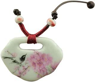 Easting Chinese Style Painted Plum Blossom & Bird Lock Shape Ceramic Pendant Necklace