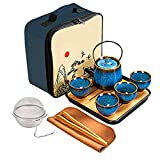 Ceramic Kungfu Tea Set,Chinese Tea Set,Contains Tea Tray and Bag,Tea Sets for Women/Man/Adults,Suitable for Parties and Travel,with Tea Strainer-Stainless