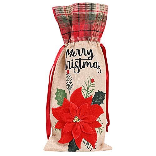 Evilib Bolsa de vino de Navidad, decoración de botellas de vino hecha de tela de lino de alta calidad con cordón, 36 x 15 cm