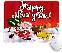 EILANNAマウスパッド メリークリスマスハッピーニューイヤーとメリークリスマスサンタイエロードッグ ゲーミング オフィス最適 高級感 おしゃれ 防水 耐久性が良い 滑り止めゴム底 ゲーミングなど適用 用ノートブックコンピュータマウスマット