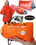 GEO360 Emergency Survival Tent Shelter with Sleeping Bag, Poncho, Whistle and Fire Starter (5 Piece...