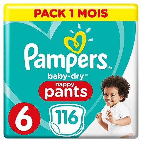 Pampers Baby-Dry Pants Maat 6 (15+kg), 116 Luierbroekjes, Makkelijk Aan Tot 12 Uur Lang Droog, Maandbox