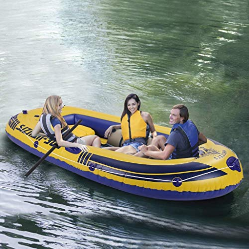 intent_Side 8ft Inflatable Boat Series Explorer Touring Kayak Canoe Boat Set 3-Person PVC Inflatable Rafting Fishing Dinghy Tender Pontoon Boat with Paddles and Air Pump for Water Sports Fun
