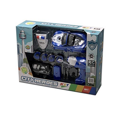Tachan- Coche Policia con Sonido y Montaje Eléctrico, Radio Control, Color Azul (CPA 7838021M)