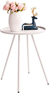 HollyHOME Convenient Patio Steel Side Table with Handle, Accent Small Coffee/Snack Table, Round Metal End Table for Outdoor or Indoor Use, (H) 19.50