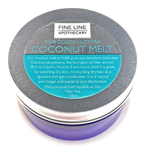 HUILE DE COCO - 100 ml - par Fine Line Apothecary. Une huile naturelle pour la peau, les cheveux, le corps, la barbe et les ongles - de la plus haute qualité.