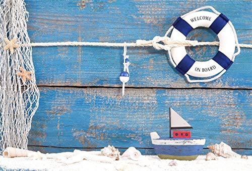 EdCott Fondo náutico 5x3 pies Fondo Baby Shower Fiesta cumpleaños Fotomatón Red Pesca Barco Vela Marinero Aro Salvavidas Anillo Vida Fondo Madera Azul para fotografía Accesorios Estudio fotográfico