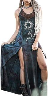 Keepmore Maxi Abito da Donna con Stampa di Sole e Luna retrò Vestito Tribale Diviso con Spalline Sottili