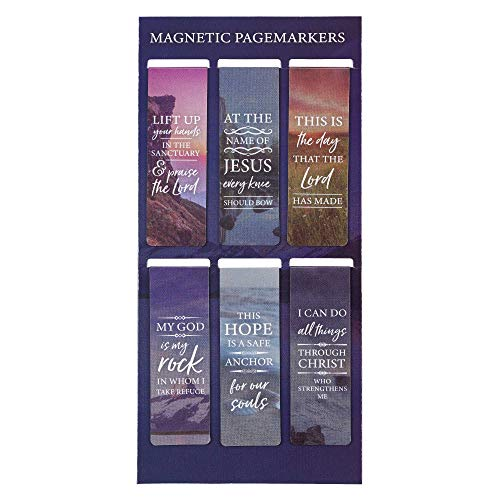 Christian Art Gifts Set of 6 Lift Up Your Hands Scenic Nature Inspirational Magnetic Bible Verse Bookmark with Scripture, Size Small 2.3' x .75'