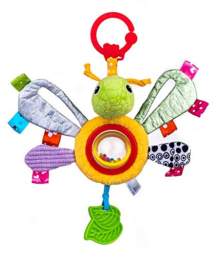 Balibazoo 80179 Butterfly Lulu, Clip & Go Sensorikspielzeug, Babyspielzeug, Plüschtier, Kinderbettzeug, Babyfreund, Kinderwagenanhänger, sicheres Spielzeug ab 0 Monaten