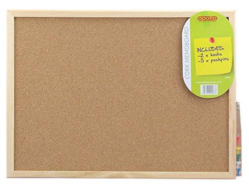 Apollo Kork Memo Board, braun und weiß, 30x 40cm