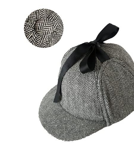 N\C Unisex Sherlock Holmes Detective Sombreros Adultos Plaid Doble Ala Gorra con Earflap Cosplay Gris