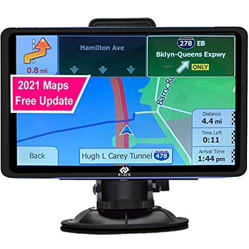 E-ACE GPS Navigation for Car 7' Touchscreen 8GB+128M Vehicle GPS Navigator System Real Voice Spoken Turn Direction Reminding GPS for Car with Lifetime Free Maps Update (G715, 7 inch)