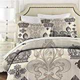 Fleur De Lis Decor Collection Bedding sets Queen, Heraldic Pattern with Fleur De Lis and Crowns Tiara Iris Flowers Coat of Arms Knight Bedding Set All Season Quilt Set Soft and Breathable with Zipper