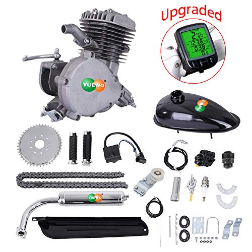 AnEssOil Bicycle Motor Kit 80cc 2-Stroke Motorized Bike Kit, DIY Petrol Gasoline Engine Bicycle Conversion Set with Speedometer for 24', 26' and 28' Bikes (Gray)