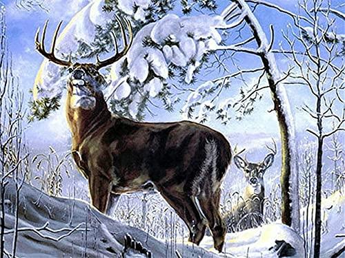 5D DIY ciervo mosaico invierno bordado de diamantes kit de bordado de punto de cruz animal decoración del hogar pintura de diamantes A4 40x50cm
