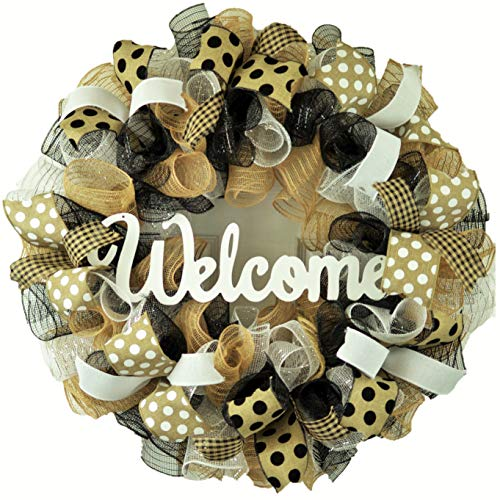 Front Door Welcome Wreaths - Mothers Day Gift - Burlap Everyday Year Round Outdoor Decor - Black Jute White - M5