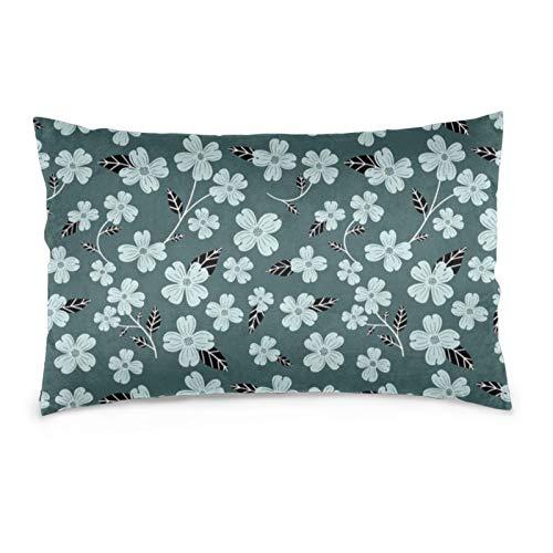Funda de almohada de pino y menta con diseño de flores de cornejo de madera de pino y menta, suave y acogedor, tamaño Queen estándar, 50,8 x 76,2 cm, con cremallera oculta.