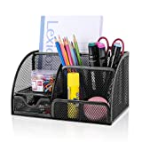 Desk Organizer Office Accessories, Multi-Functional Mesh Desk Organizer with 6 Compartments and 1 Drawer for Home, Office, School, Workshop, kitchen (Black)