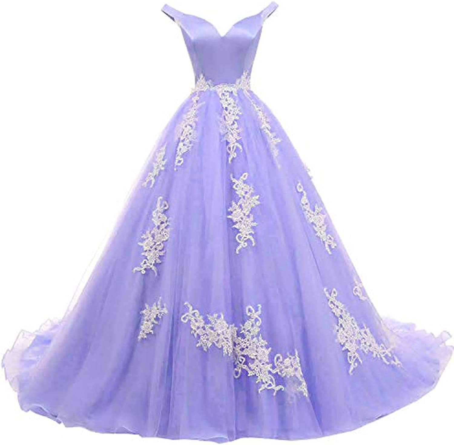 MariRobe Women's lace Applique Quinceanera Dresses 2019 Off The Shoulder Prom Dress Backlesss Evening Dress Prom Gown