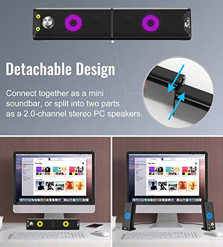 NJSJ V-181 Computer Speakers Detachable 2 in1 PC Gaming Speaker with Stereo Sound 7 Colors Backlit Headphone  Georgia