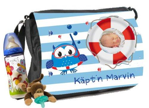 Luiertas met eigen foto's en namen babywikkeltas motief Kapitän