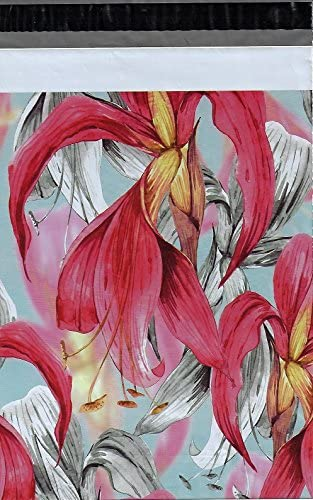 10x13 100 Red Daily bargain sale Tropical Flowers Shipping Envelopes Seasonal Wrap Introduction Poly Mailers
