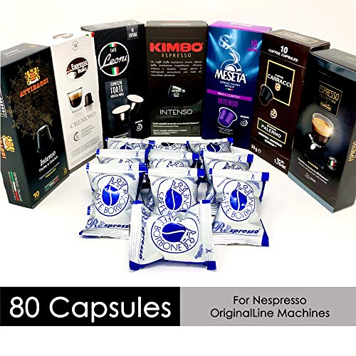 Nespresso Compatible Capsules Italian Multi-Brand Variety Pack - Best Bundle Collection of Bold Intenso Roasts of Espresso Pods from Italy - 80 Pack