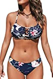 CUPSHE Women's Low Rise Navy Floral Cutout Criss Cross...