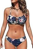 CUPSHE Damen Bikini Set mit Zierband Tropicalmuster Bandeau Bikini Bademode Cut-Out Zweiteiliger Badeanzug Marineblau L