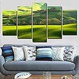 SJVR 5枚パネル 5つのキャンバス絵画 キャンバスの家の装飾のプリントポスター5ピースヒルズグリーンフィールドペインティングモジュラーリビングルームウォールアートゴルフコースの写真 フレームなし