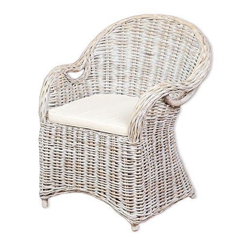 LEBENSwohnART Rattan-Sessel Charlotte White-Washed mit Sitzkissen Stuhl Armlehnstuhl