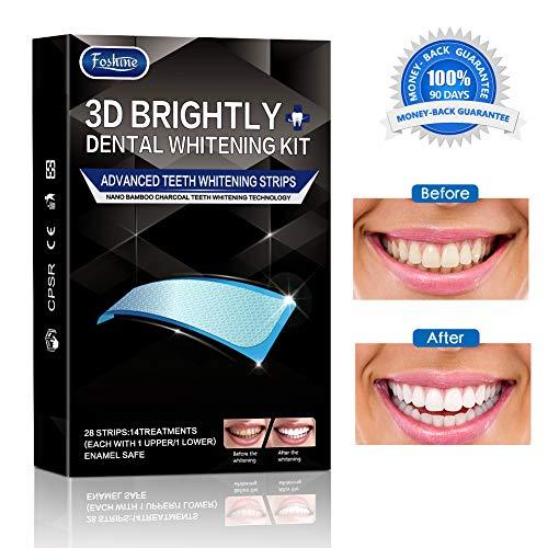 Foshine 3d Bandas de Blanqueamiento Dental de Carbón Activado, Solo 14 Días Tratamiento