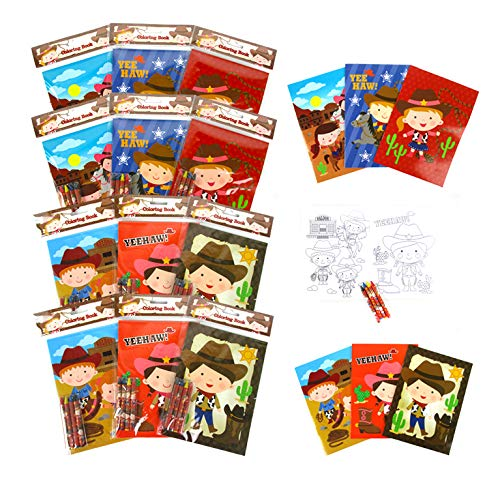 TINYMILLS Western Cowboy Cowgirl Coloring Book Set with 12 Coloring Books and 48 Crayons Western Cowboy Cowgirl Birthday Party Supplies Favor Bag Filler Carnival Prizes Rewards