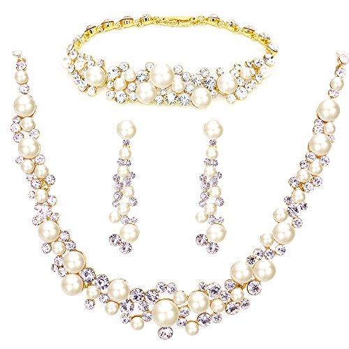 BiBeary Damen Kristallen künstliche Perle elegant Braut Schmuck Set Halskette Kette Ohrringe Armband Armkette klar Gold-Ton