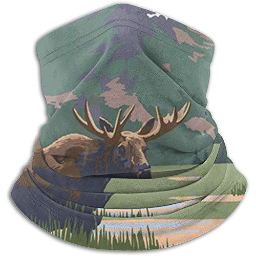 Emonye Grand Teton National Park - Moose and Mountains Stretchy Cap, Polar Neck Face Mask Hood Cover Scarf and Shawl