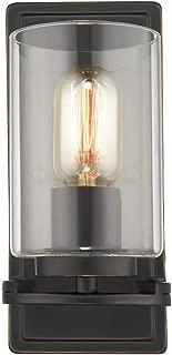 Golden Lighting 7041-1W BLK-CLR One Light Wall Sconce, Black