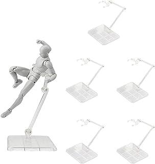6個入り プラモデル フィギュア スタンド 台座 1/144 スケール ポリカーボネート製 模型 人形立て ディスプレイスタンド 飾る 180度可動 クリア 透明色
