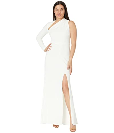 Betsy & Adam Long Crepe One Sleeve Asymmetrical Gown