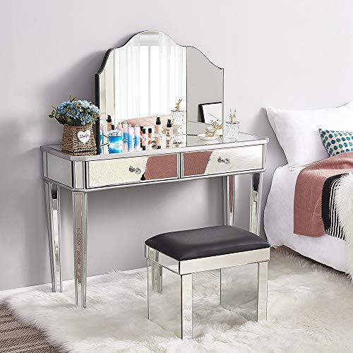 Panana - Mesa Tocador de Maquillaje Cristal con Espejo Triple Vidrio y Cajoneras Centrales Armario Dormitorio Salón Belleza Elegante Diseño Moderno Lujoso Moda (Cojunto-3pcs)